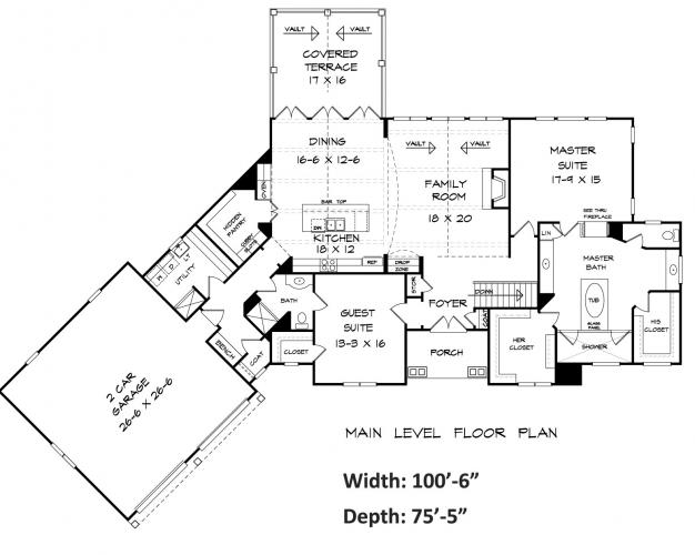 Bentwater Ranch House Plan First Floor