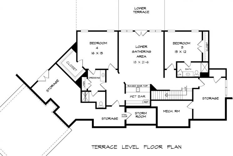 Bentwater Ranch House Plan Basement